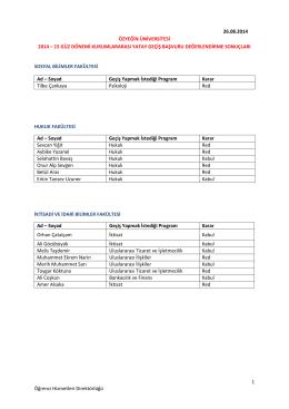 1 Öğrenci Hizmetleri Direktörlüğü 26.08.2014 ÖZYEĞİN
