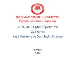 Kayıt yenileme hakkında - Süleyman Demirel Üniversitesi