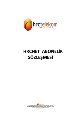HRCNET ABONELİK SÖZLEŞMESİ