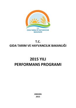 Performans Programı - TC Gıda Tarım ve Hayvancılık Bakanlığı
