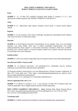 Burslu Öğrenci Alım Sınavı Şartnamesi(PDF)