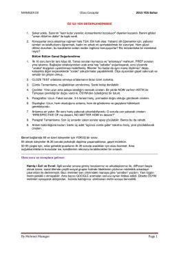 2015 Nisan YDS Soruları ve Değerlendirmeler