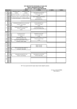 İnşaat Mühendisliği Bölümü 2014-2015 Güz Yarıyılı Ders Programı