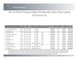 Yeni S-Serisi fiyat listesi - Mercedes-Benz