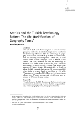Atatürk and the Turkish Terminology Reform: The (Re