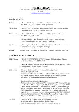 Özgeçmiş - Atılım Üniversitesi | Mimarlık Bölümü