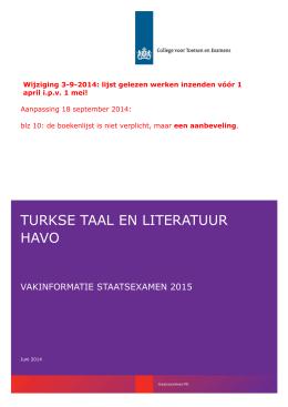 Vakinformatie Turkse taal en literatuur havo 2015