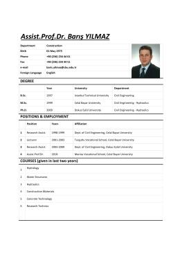 CV - Celal Bayar Üniversitesi Manisa Meslek Yüksekokulu