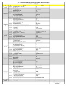 Ara Sınav Programı - Jeoloji Mühendisliği Bölümü