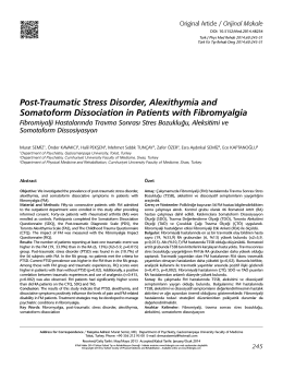 Post-Traumatic Stress Disorder, Alexithymia and