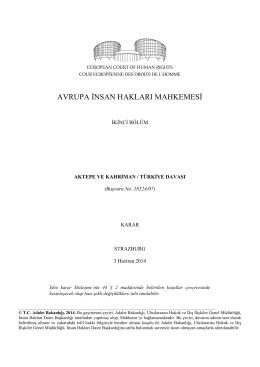 Aktepe ve Kahriman v. Türkiye - İnsan Hakları Daire Başkanlığı