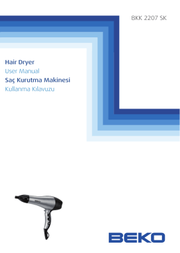 BKK 2207 SK Hair Dryer User Manual Saç Kurutma Makinesi