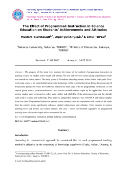 The Effect of Programmed Instruction in Science Education on