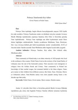Polonya Tatarlarında Kişi Adları