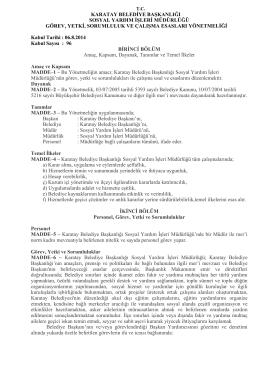 karatay belediye başkanlığı sosyal yardım işleri müdürlüğü görev