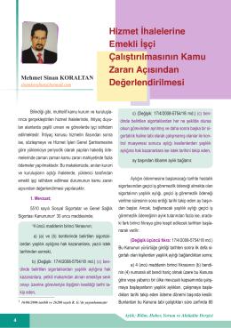 Hizmet İhalelerine Emekli İşçi…/Mehmet Sinan