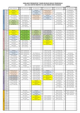 I.Eğitim Ders Programı - Teknik Bilimler Meslek Yüksekokulu