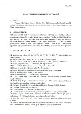 İZOLASYON TEST CİHAZI TEKNİK ŞARTNAMESİ 1. KONU: Türkiye
