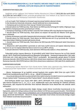 türk telekomünikasyon a.ş. 24 ay taksitli archos tablet 7,90-tl