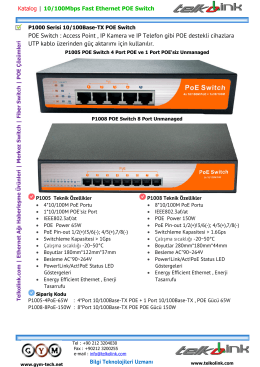 P1000 Serisi 10/100Base-TX POE Switch