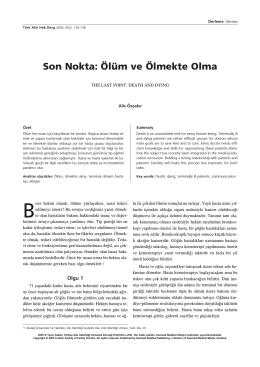 Son Nokta: Ölüm ve Ölmekte Olma - Türkiye Aile Hekimliği Dergisi