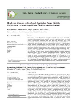 Türk Tarım - Gıda Bilim ve Teknoloji Dergisi
