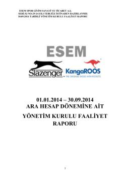 01.01.2014 – 30.09.2014 ARA HESAP