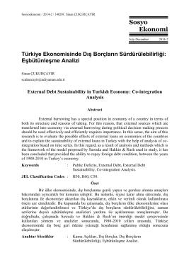 Türkiye Ekonomisinde Dış Borçların Sürdürülebilirliği