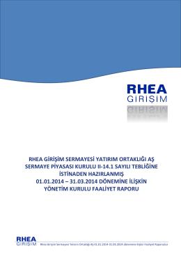 rhea girişim sermayesi yatırım ortaklığı aş sermaye piyasası kurulu ıı