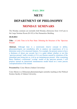METU DEPARTMENT OF PHILOSOPHY MONDAY SEMINARS