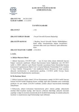 Dosya No: 2014/2881 - Kurum Tarafından Doğum Borçlanması