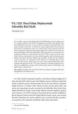 VII. / XIII. Yüzyıl İslâm Düşüncesinde Fahreddin Râzî Ekolü