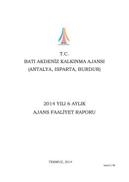 2014 Yılı Ara Faaliyet Raporu - Batı Akdeniz Kalkınma Ajansı