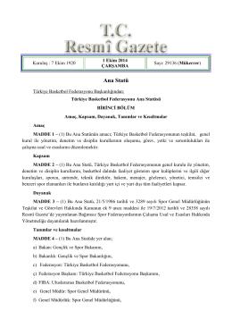 Ana Statü - Türkiye Basketbol Federasyonu