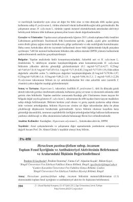 Heracleum pastinacifolium subsp. incanumToplam Fenol İçeriğinin