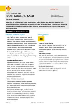Page 1 Teknik Bilgi Formu Eski İsmi : Shell Tellus Yağları Shell
