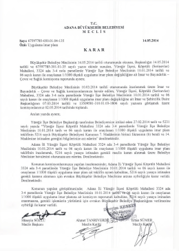 Büyükşehir Belediye Meclisinin 14.05.2014 tarihli oturumunda
