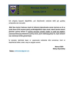 Mevzuat Analiz-4 Kasım/2014 09.12.2014