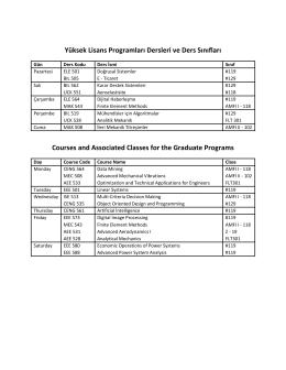 Yüksek Lisans Programları Dersleri ve Ders Sınıfları Courses and