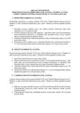 ADEK Kriterleri - Şırnak Üniversitesi