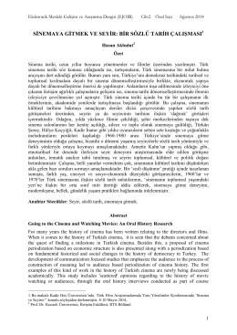 Seyrin Kültürel Tarihine Doğru: Bir Sözlü Tarih Çalışması - E-JOIR