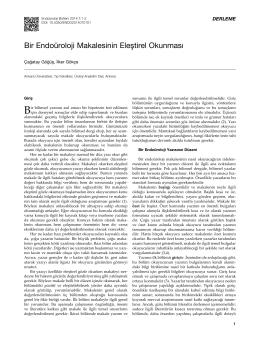 Bir Endoüroloji Makalesinin Eleştirel Okunması