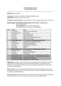 Fizik II (FİZ 122) Ders İzlencesi 2013