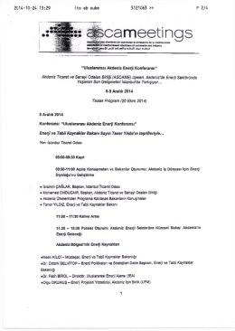 Taslak Program - Gaziantep Sanayi Odası