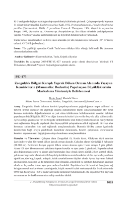 Mammalia: Rodentia - Biyoloji Kongreleri