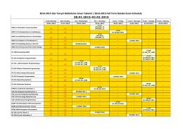 28.01.2015-02.02.2015 2014-2015 Güz Yarıyılı Bütünleme Sınav
