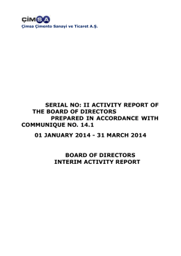 serial no: ii activity report of the board of directors prepared