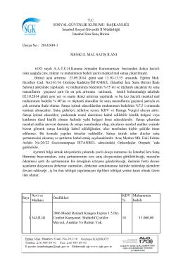 Sayı Nevi ve Markası Özellikleri KDV % Muhammen bedeli 1