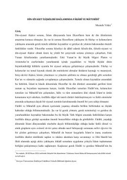 DİN-SİYASET İLİŞKİLERİ BAĞLAMINDA FÂRÂBÎ