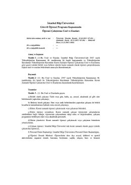 Đstanbul Bilgi Üniversitesi Görevli Öğrenci Programı Kapsamında